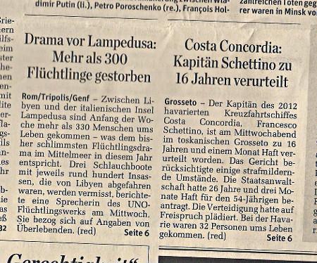 Zeitungsschnippsel vom 12. Februar 2015